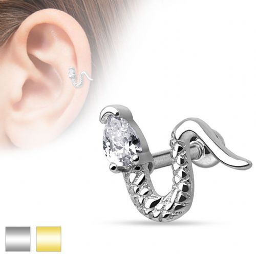 Snake Cartilage Bar with Clear Gem